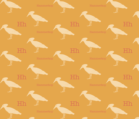 H is for Hammerkop fabric by maile on Spoonflower - custom fabric