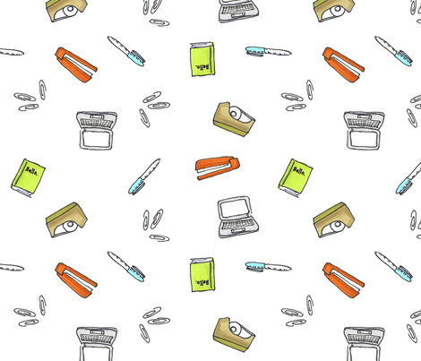 office supplies fabric by primenumbergirl on Spoonflower - custom fabric