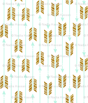 Small Glitter Arrows: Mint & Gold