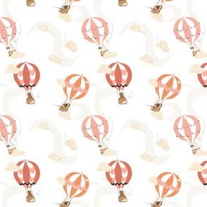 Hot Air Balloons, Pink & Orange