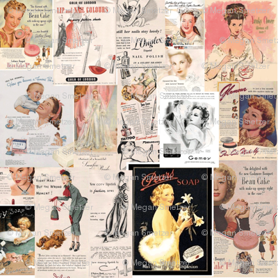 Vintage COSMETIC  Fabric for SEWING MAMAS