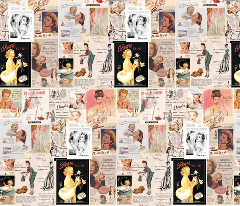 Vintage COSMETIC Cosmetic Midcentury Ads fabric by materialmama on Spoonflower - custom fabric