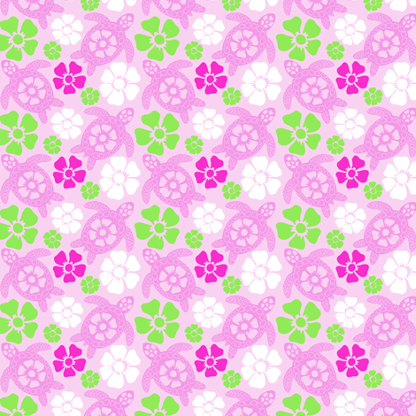 Hawaiian Turtles in Pinks (#31b) fabric by coloroncloth on Spoonflower - custom fabric