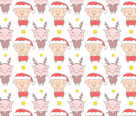 christmas piggies fabric by zoel on Spoonflower - custom fabric
