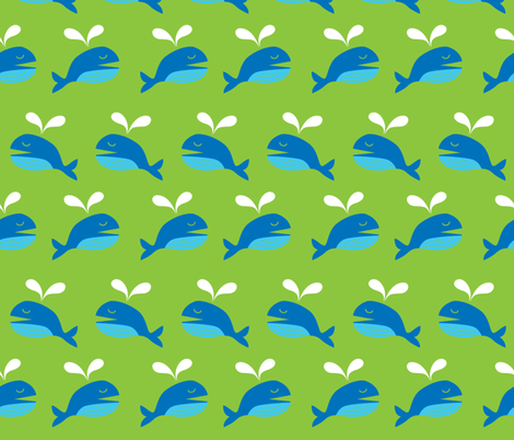 Happy Whale fabric by malien00 on Spoonflower - custom fabric