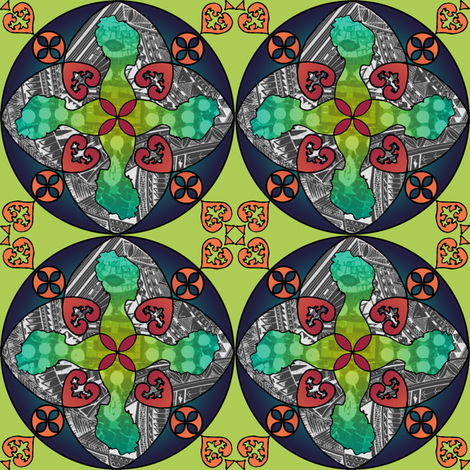 Gothic Pasifika: Victoria - Green fabric by jessicasoon on Spoonflower - custom fabric