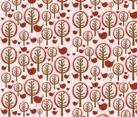 pink forest fabric by emilyb123 on Spoonflower - custom fabric