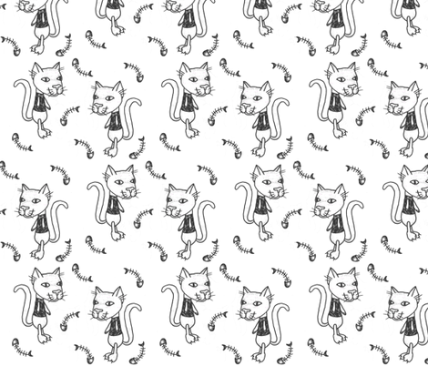 Kitty Fishbones fabric by puncezilla on Spoonflower - custom fabric