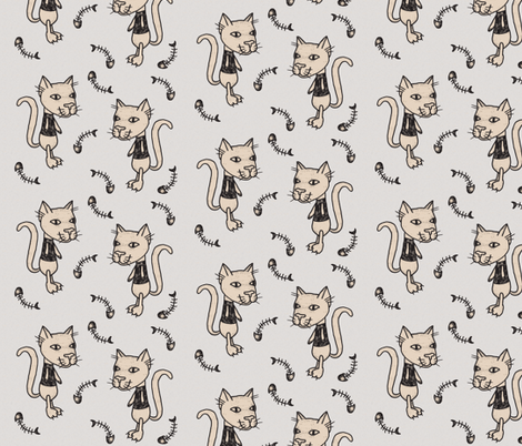 Cat Fishbone Grey fabric by puncezilla on Spoonflower - custom fabric