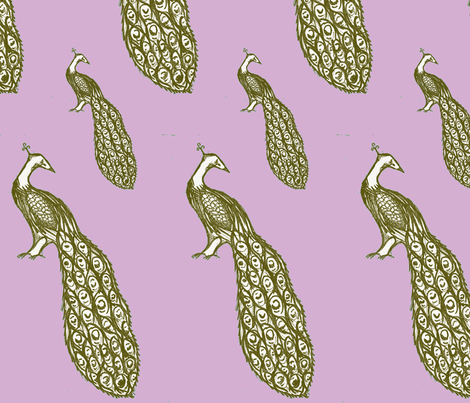 peacock_repeat_lilac fabric by sequingirlie on Spoonflower - custom fabric