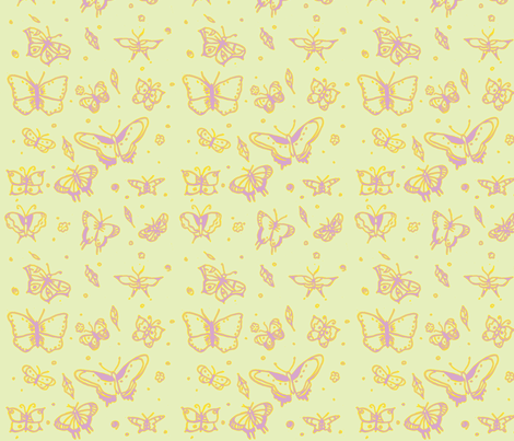 butterflies vintage fabric by sequingirlie on Spoonflower - custom fabric