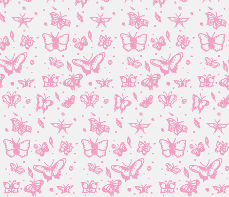 butterflies soft raspberry fabric by sequingirlie on Spoonflower - custom fabric