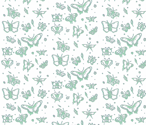 butterflies sage glow fabric by sequingirlie on Spoonflower - custom fabric