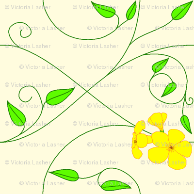 Basic repeat - vll flowered vine - yellow