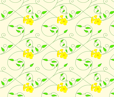 Basic repeat - vll flowered vine - yellow fabric by victorialasher on Spoonflower - custom fabric