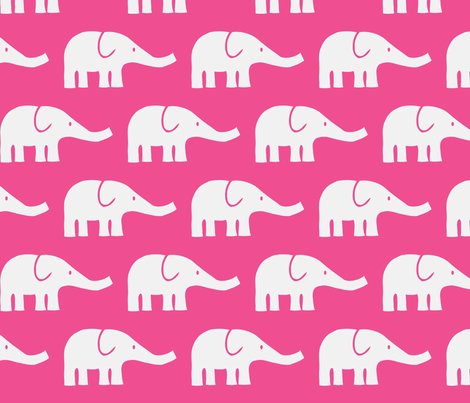 LARGE Elephants in dark pink fabric by katharinahirsch on Spoonflower - custom fabric