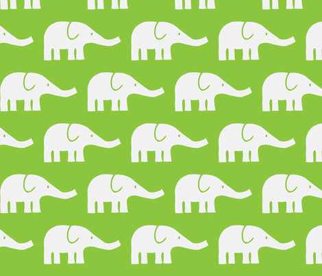 LARGE Elephants in green fabric by katharinahirsch on Spoonflower - custom fabric