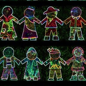 International Paper Dolls - Version 2 - Glowing on Black Background