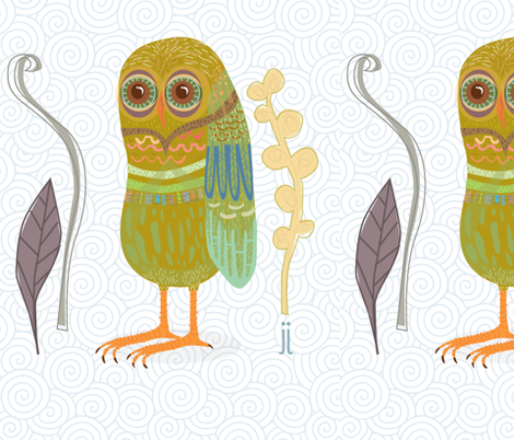 owl always fabric by junej on Spoonflower - custom fabric