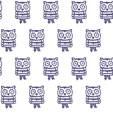 blue panda owl fabric by trollop on Spoonflower - custom fabric
