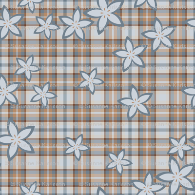 Plaid and flower pattern