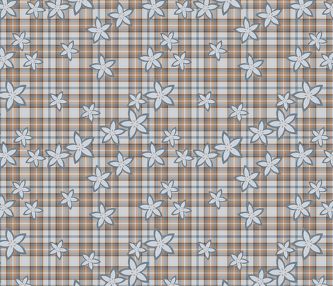 Plaid and flower pattern fabric by suziedesign on Spoonflower - custom fabric