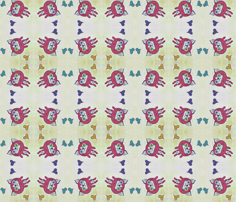 Kitty Hearts fabric by puncezilla on Spoonflower - custom fabric