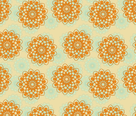 orange flowers fabric by suziedesign on Spoonflower - custom fabric