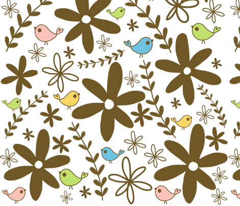 brown flowers fabric by emilyb123 on Spoonflower - custom fabric