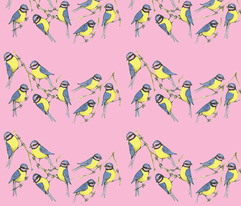 Birds on a branch fabric by anenome on Spoonflower - custom fabric