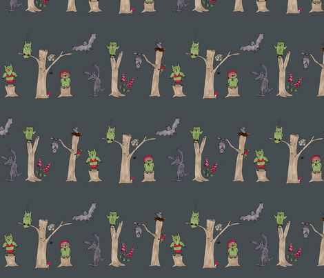 halloween in the forest fabric by susalabim on Spoonflower - custom fabric