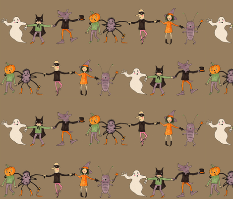 halloweenparade brown fabric by susalabim on Spoonflower - custom fabric