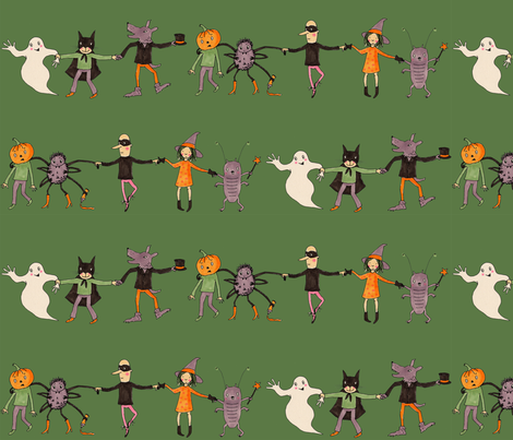 halloweenparade dark green fabric by susalabim on Spoonflower - custom fabric