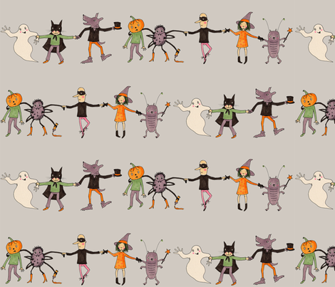 halloweenparade grey fabric by susalabim on Spoonflower - custom fabric