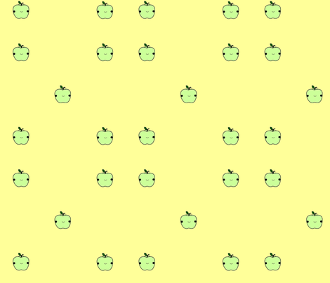 green apples on yellow fabric by geemarie on Spoonflower - custom fabric