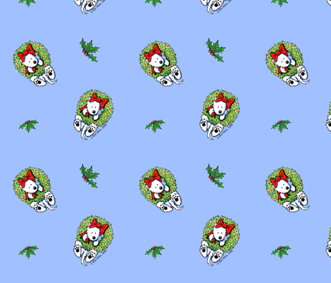 Wreath Wrangler Westies fabric by kiniart on Spoonflower - custom fabric