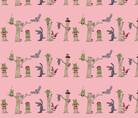 halloween in the forest, pink fabric by susalabim on Spoonflower - custom fabric