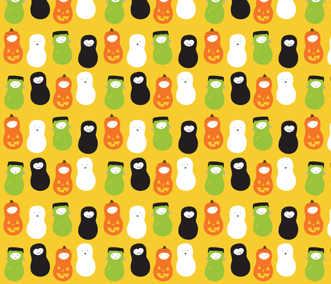 jordnöt halloween yellow fabric by wildolive on Spoonflower - custom fabric
