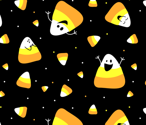 Candy Corn Party with Faces fabric by heartsandlaserbeams on Spoonflower - custom fabric