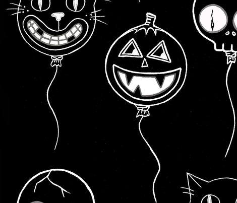 Spooky baloons white on black fabric by puncezilla on Spoonflower - custom fabric