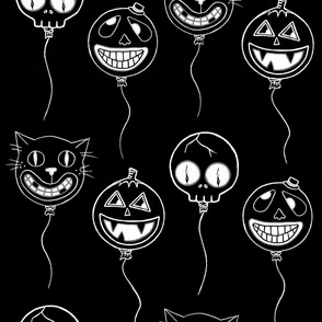 Spooky baloons white on black
