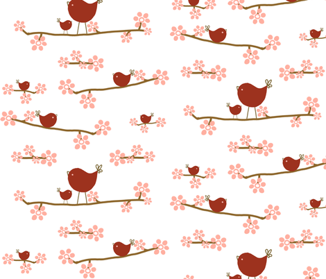 red birds fabric by emilyb123 on Spoonflower - custom fabric