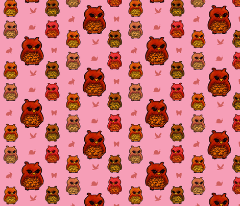 Smaller Owls Pretty Pink  fabric by emmari on Spoonflower - custom fabric