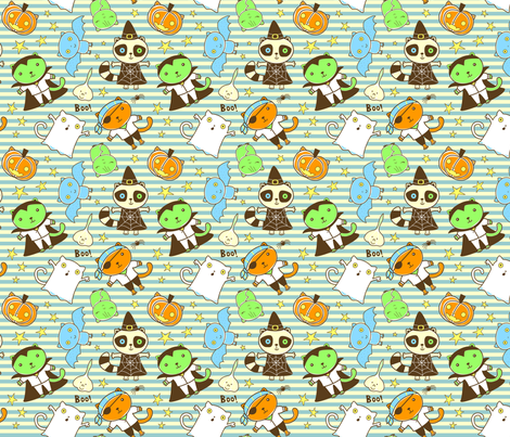Cats Bats and Racoons Halloween fabric by zoel on Spoonflower - custom fabric