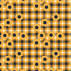 yellow black flower plaid