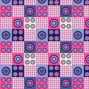 flower and plaid pattern