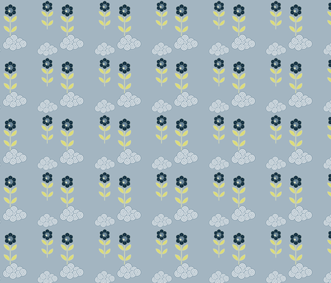 flower cloud pattern fabric by suziedesign on Spoonflower - custom fabric