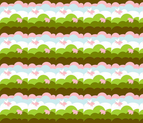 Pigs Fly fabric by laurawilson on Spoonflower - custom fabric