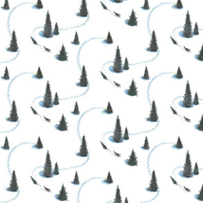 6 x 6 in. Xmas Pulling Christmas tree Siberian Husky
