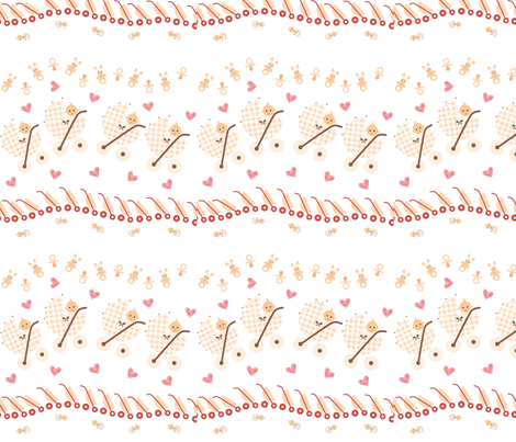 Baby in a Pram fabric by andsewon on Spoonflower - custom fabric